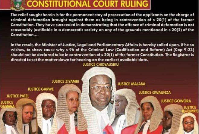 Zim constitutional court strikes off defamation law
