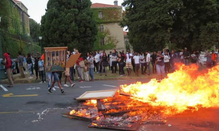 Rhodes Must Fall protesters burn UCT art