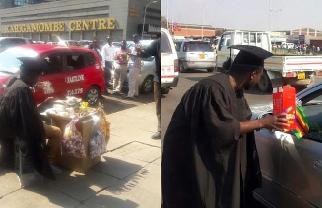 "Pictures of Zimbabwe's ""graduate vendors"" wearing gowns go viral"