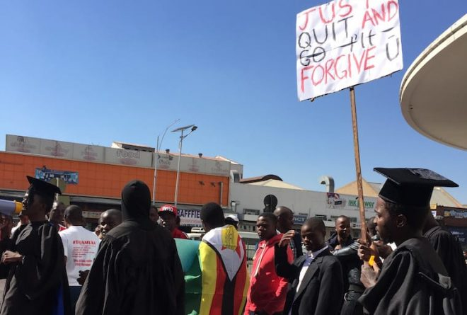 Pictures: Unemployed graduates and anti bond notes protesters march in Zimbabwe