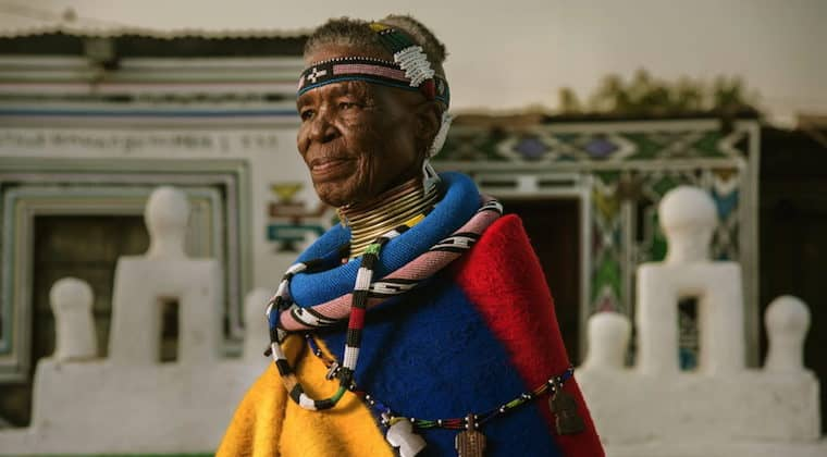 South African artist Esther Mahlangu honoured with mural painted on the streets of New York