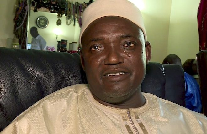 New beginning: The Gambia's new president Adama Barrow arrives home