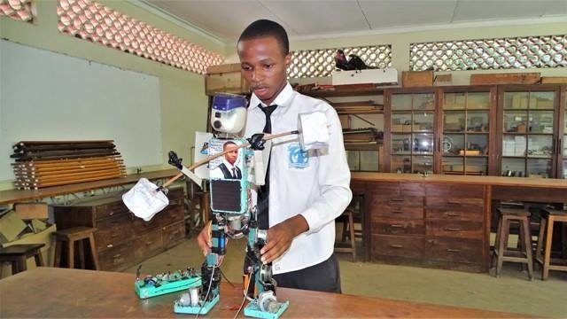Gracious Ephraim, young Tanzanian innovator invents a solar powered robot