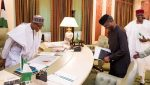Buhari recieves a briefing from Vice President Yemi Osinbajo after his return on March 10