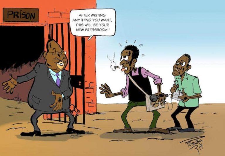 Harassment of journalists across Africa a concern. Cartoon: Roland Polman