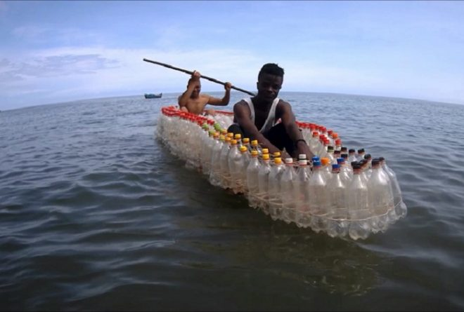 Transforming plastic waste into bottle boats in Cameroon