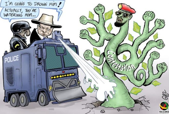 Cartoon: Uganda — Bobi Wine under 'preventive' house arrest