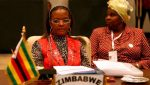 Former First Lady Grace Mugabe representing Zimbabwe at an Organization of African First Ladies Against HIV and AIDS summit EPA:Khaled Elfiqi