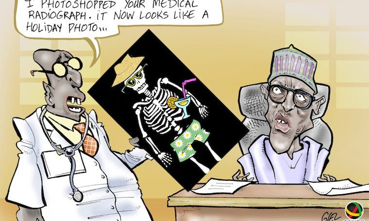Cartoon: Buhari returns to Nigeria after unclear 10-day UK  'private visit'