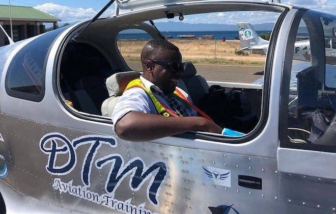 A four-seater plane, built and piloted by teen students is on a Cape-to-Cairo flight