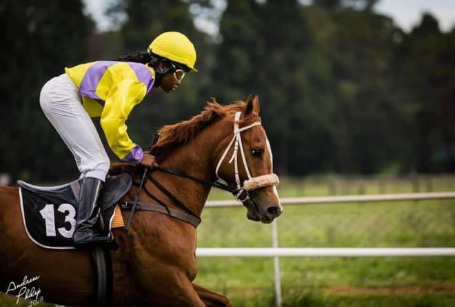 O'Meara Chiedza Rusike is Zimbabwe's first black female jockey
