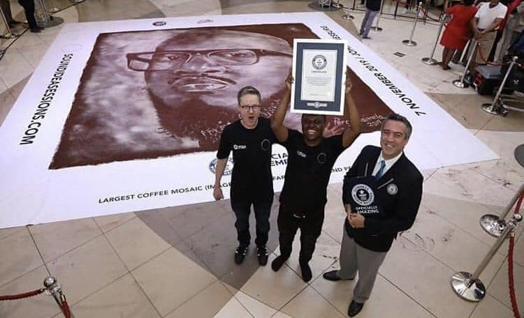 SA artist Percy Maimela breaks Guinness World Record for largest coffee sketch