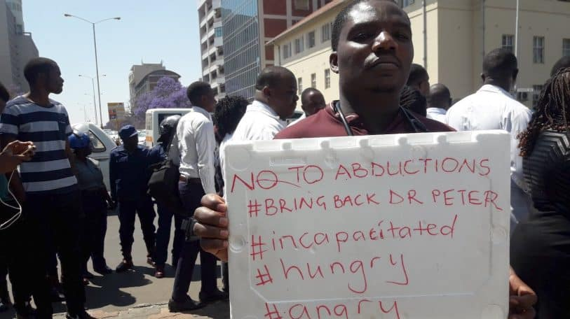 Zimbabwe doctors protest over abduction of Association President Dr Peter Magombeyi