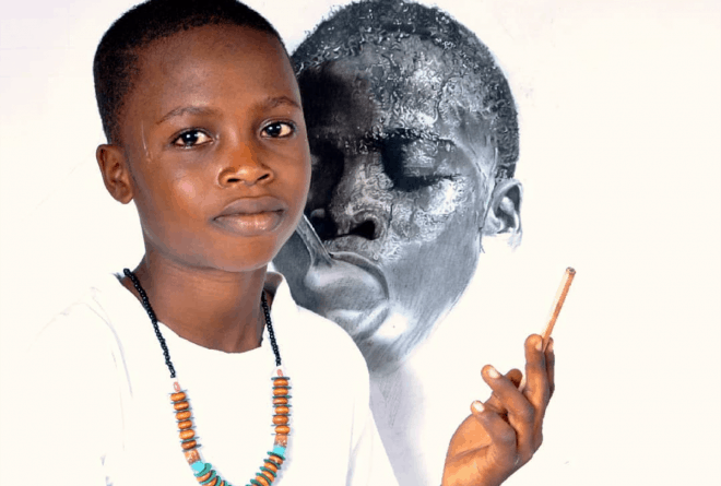 Young Nigerian hyper-realistic artist, Kareem Waris Olamilekan wins International Art award