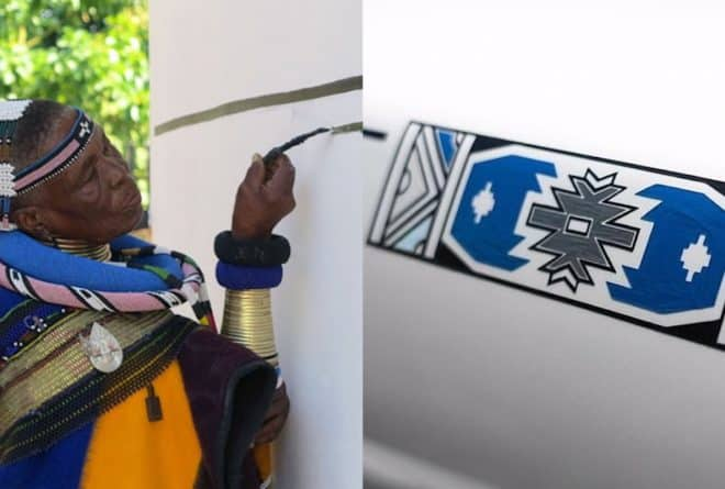 Dr Esther Mahlangu unveils the 'Mahlangu' Rolls-Royce Phantom at The Melrose Gallery