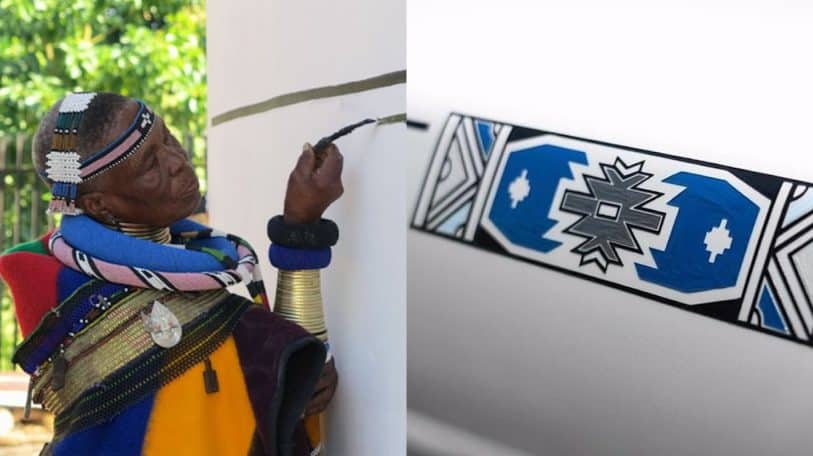 Dr Esther Mahlangu unveils the 'Mahlangu' Rolls-Royce Phantom at The Melrose Gallery